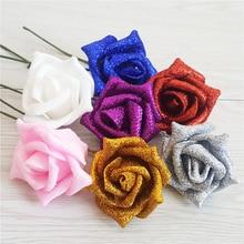 Fashion 6PC Full Shiny Silk Flowers Roses Artificial Foam  Glittered Fake Rose