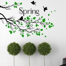 Черные ветви дерева с зелеными листьями Летающие птицы настенные стикеры домашний декор Весенняя художественная цитата на стену фотообои ...