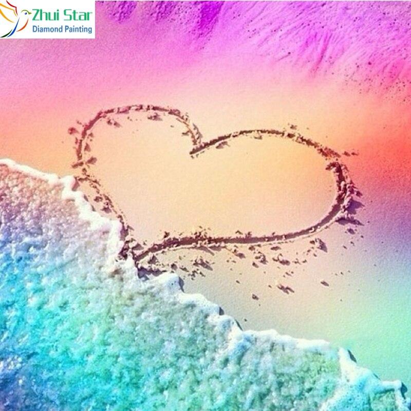 Zhui Star 5D DYI все квадратные сверла Алмазная картина вышивка сердце пляжный крест стежок Стразы Алмазная мозаика домашний декор