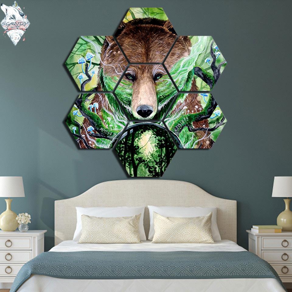 Viejo rey de Scandy Girl 7 piezas hexágono oso bosque pintura pared arte regalo decoración del hogar lienzo pintura impresa