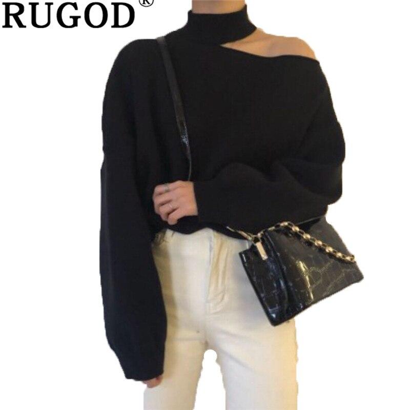 RUGOD de un hombro suéter de punto de mujer casuales de manga linterna suéter suéteres mujer tirar femme hiver