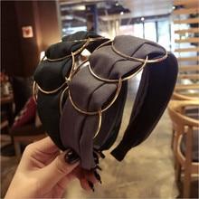 Bandeau de cheveux de style coréen Boutique   Anneau doré, large bandeau, cheveux pour femmes filles, accessoires de coiffure pour filles