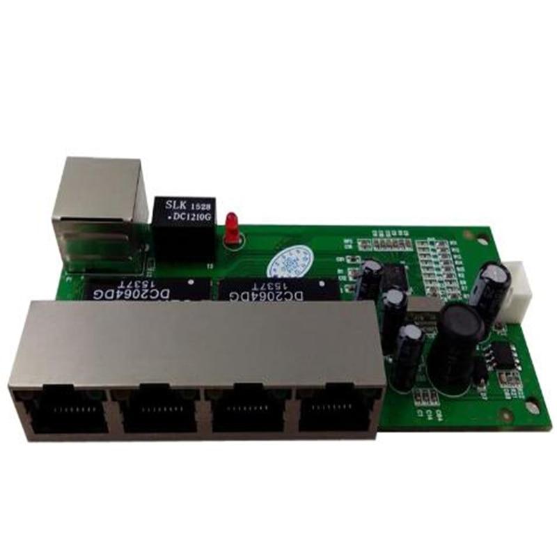 OEM mini switch 5 port 10/100mbps network 5-12v wide input voltage smart ethernet pcb rj45 module with led built-in
