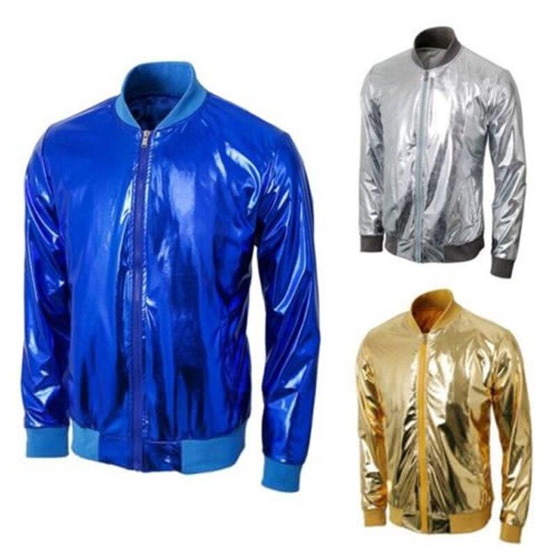 Men's Shiny Metallic Zip Up Stand Collar Jacket Men Night Club Party Halloween Cosplay Cool Baseball Thin Jacket Coats stand collar zip front epaulet trucker jacket