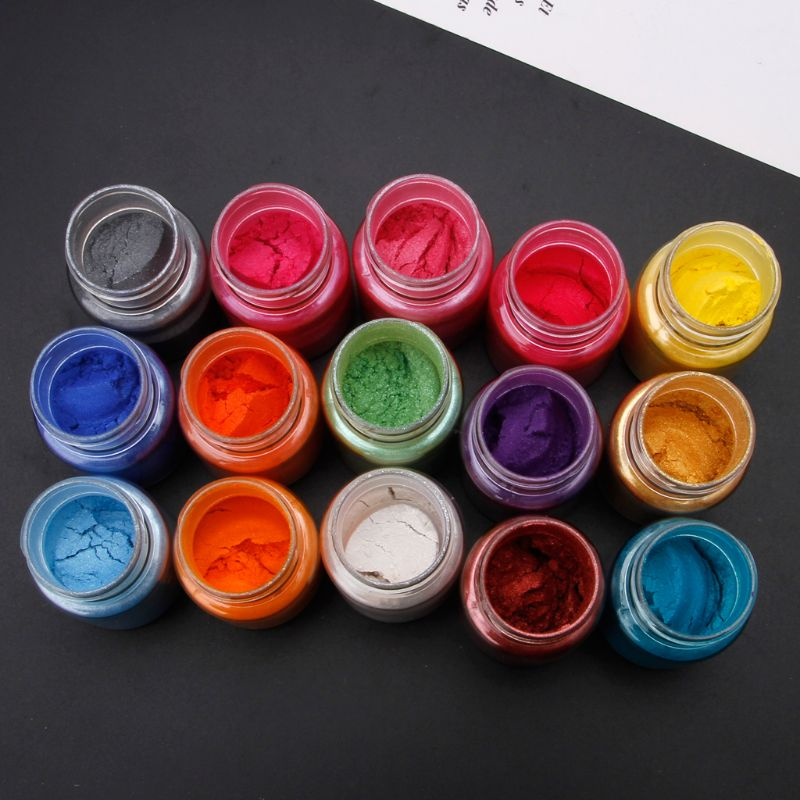 1 Set 15 Colors Mica Powder Epoxy Resin Dye Pearl Pigment Natural Mica Mineral Powder