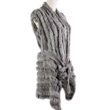 2019 Hot Sale Sweater Rabbit Fur Shawl Knitted Rabbit Fur Vest Fashion Fur Cape Rabbit Fur Poncho with Belt*Harppihop