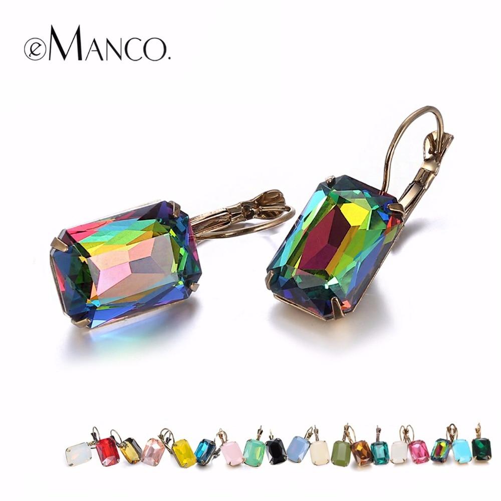 eManco Fashion Costume Jewellery Earrings for women 19 colors Minimalist Geometric Create Crystal Drop Earrings