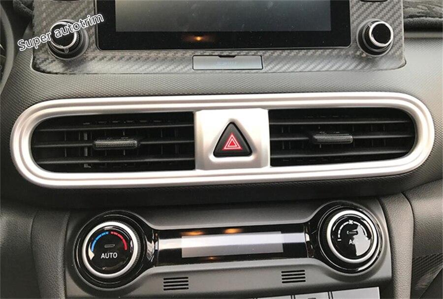 Lapetus Middle Air Conditioning AC Outlet Vent Cover Trim Fit For Hyundai Kona 2018 2019 2020 ABS Matte / Carbon Fiber Look