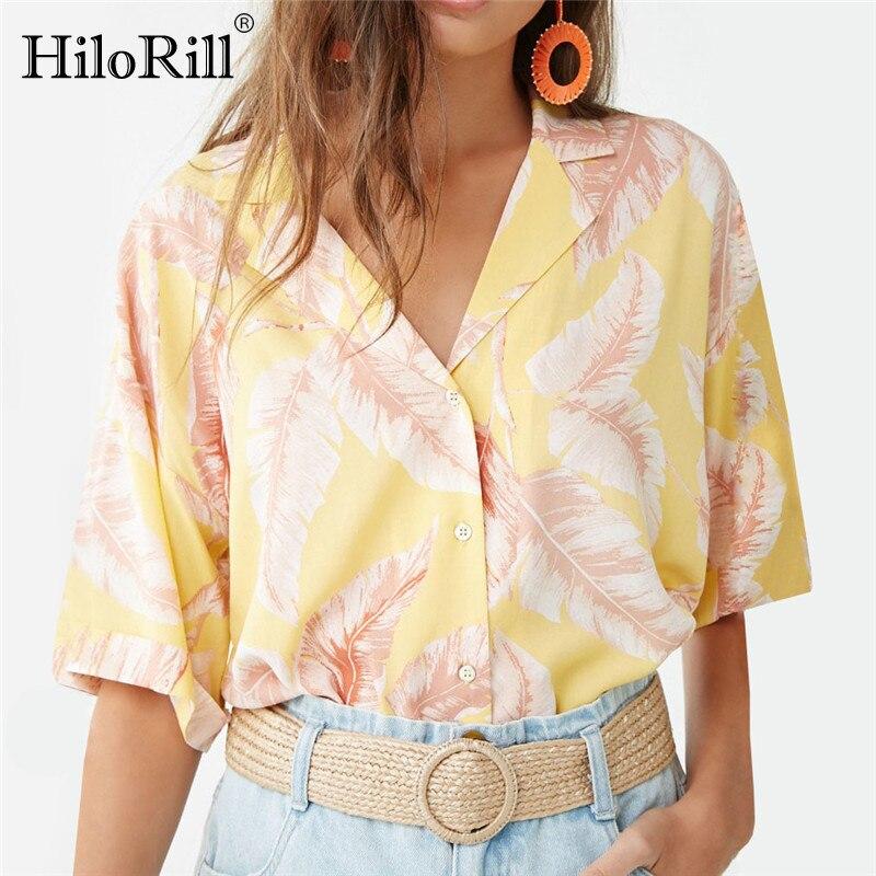 Blusa de chifón HiloRill 2020, Blusas de verano con estampado Floral para la playa para mujer, camisa de oficina con cuello vuelto, Blusas de talla grande para mujer