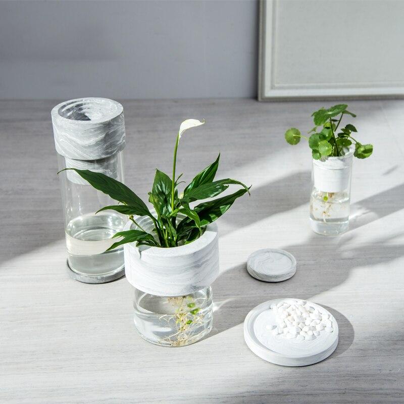 Accesorios de decoración del hogar florero blanco de mármol para decoración de peceras figurita Fengshui Jardín de hadas