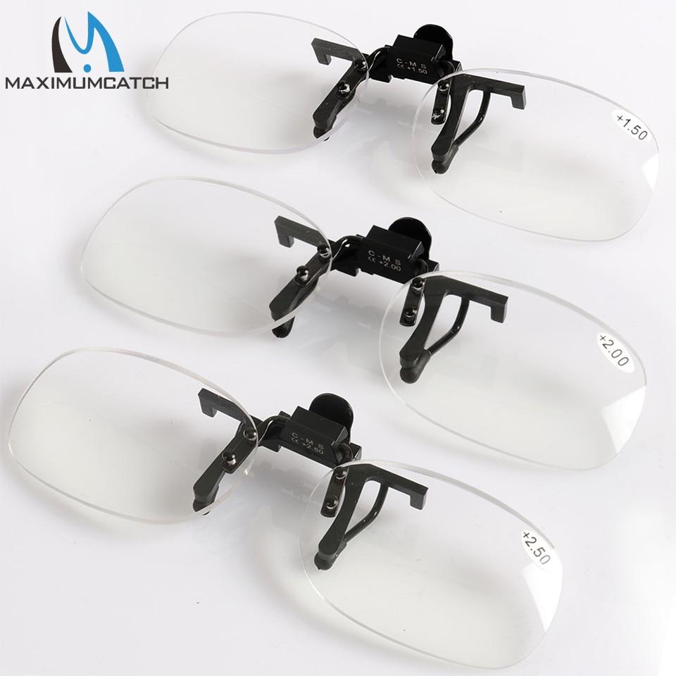 Увеличительные очки Maximumcatch, с клипсой для дальнозоркости + 1,5 + 2,0 + 2,5, портативные линзы без оправы для чтения, рыбалки
