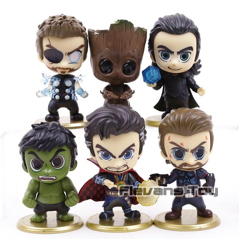 Marvel Avengers Infinity War Thor Loki Doctor Strange Hulk Captain America  Q Version PVC Action Figure Toy Doll