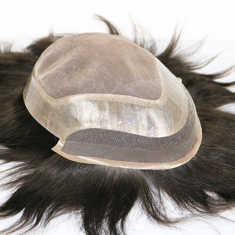 Eversilky fino Mono Top con recubrimiento de PU alrededor de pelucas para hombres Remy sistema de reemplazo de pelo de encaje frente peluquín de pelo humano tupé 8x10