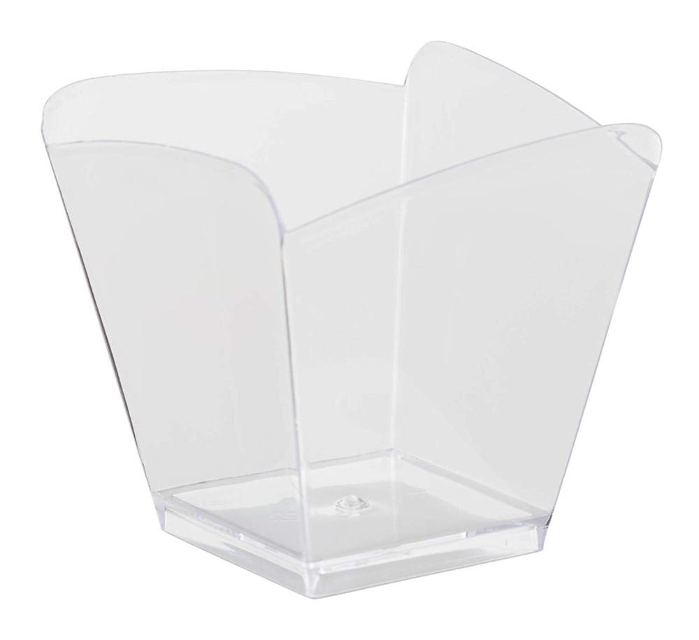 Frete grátis fornecedores festa, louça de plástico descartável, 55*58mm/100ml limpar wave sobremesa cup, 50/pacote