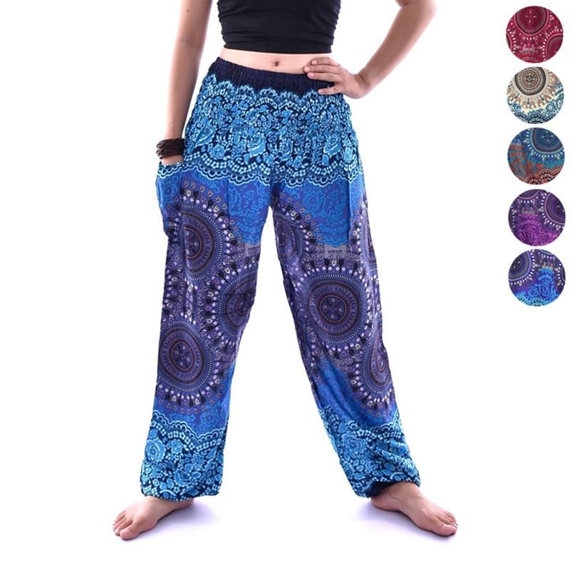 Women outdoor Yoga lantern pants High-waist ethnic Printed Loose Bohemia Fitness Sport Trousers Thai Indian casual Sweatpants