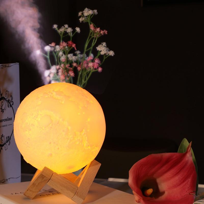 880ML Air Humidifier 3D Moon Lamp light Diffuser Aroma Essential Oil USB Ultrasonic Humidificador Night Cool Mist Maker