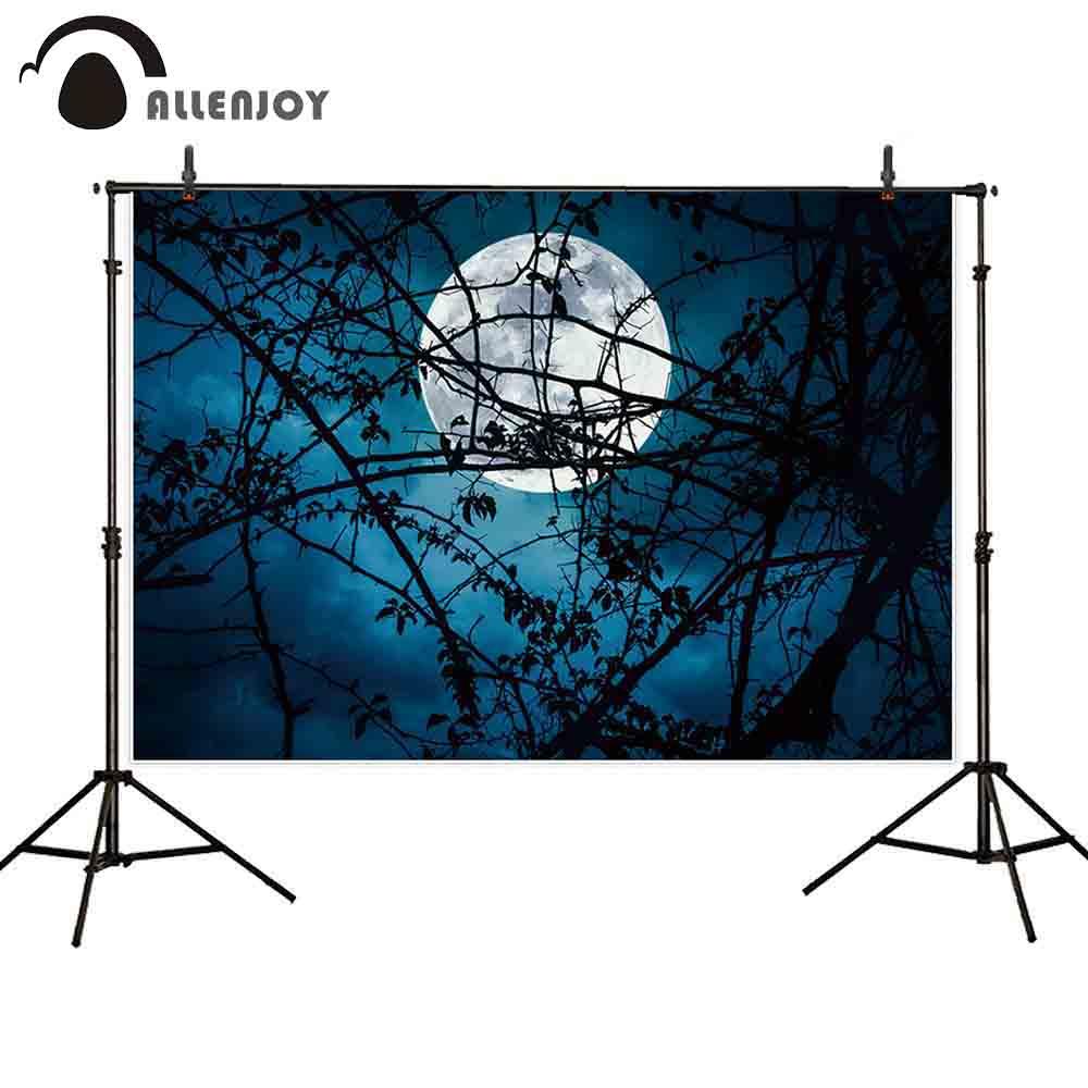 Allenjoy fotografía telón de fondo noche de Halloween cielo Luna árbol fondo de ramas sesión fotográfica utilería sesión fotográfica estudio