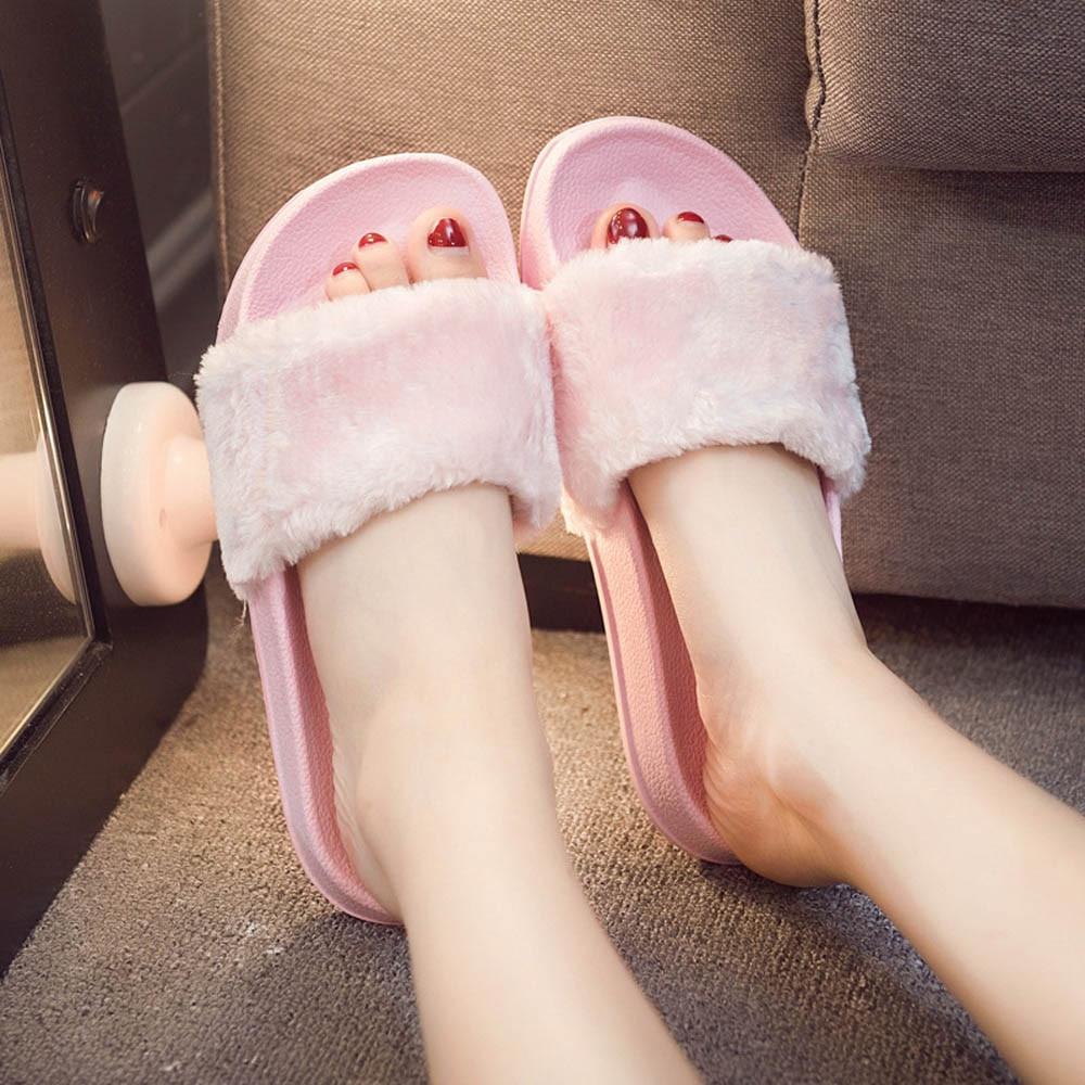 2019 new casual slippers ladies fluffy flip flops women's slippers Z slip slip buckle fluffy artificial fur flat size 4.3@py