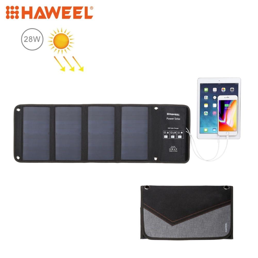 HAWEEL 4 الشمسية لوحة 28W طوي الشمسية شاحن الطوارئ في الهواء الطلق المحمولة الطاقة الاحتياطية 5V / 2.9A ماكس 2 منافذ USB للهاتف