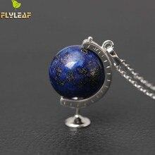 Originele 925 Sterling Zilver Hoge Kwaliteit Lapis Lazuli Globe Kettingen Voor Vrouwen Casual Stijl Meisje Accessoires Gift