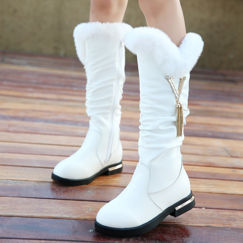 New girls' boots for autumn and winter, large children's cashmere boots, genuine leather children's snow boots, rabbit fur boots