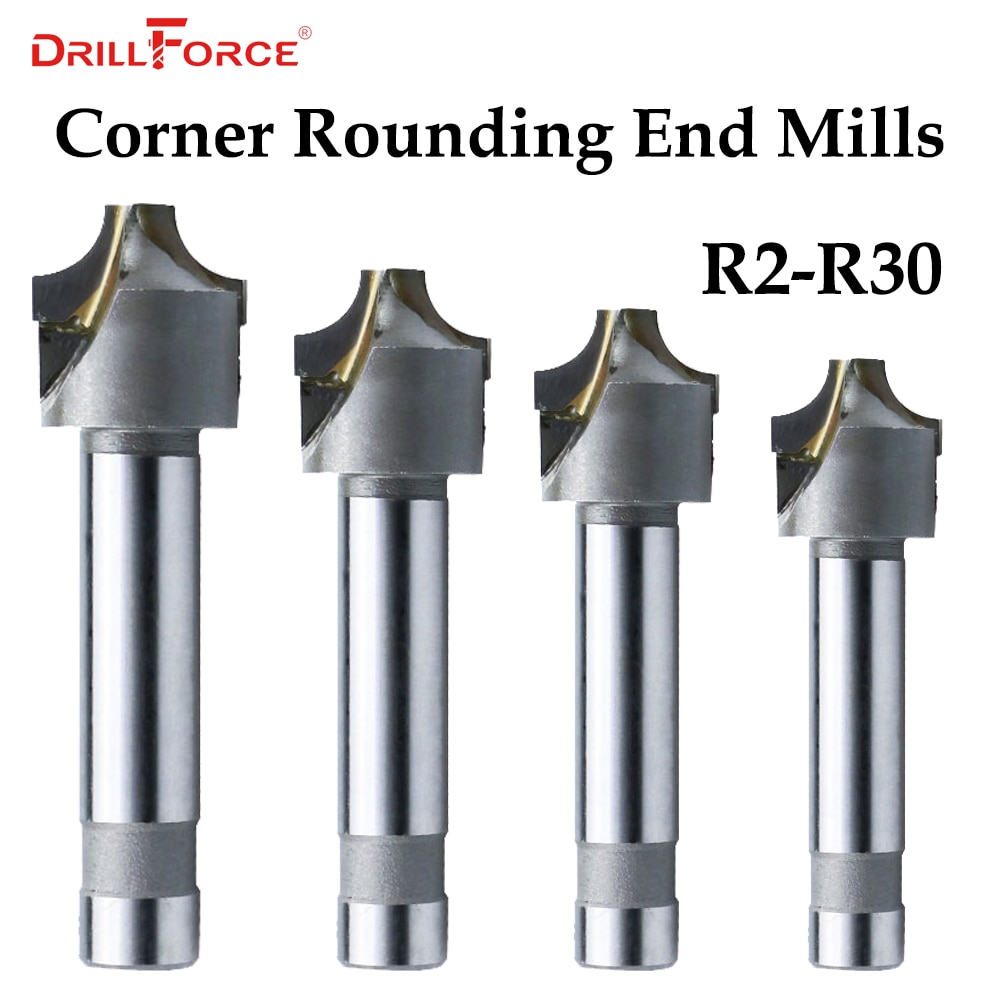 1 pc 2/4 flautas R2-R30 moinhos de extremidade de arredondamento de canto de carboneto cimentado, fresas de raio côncavo nariz de bola (r2/r5/r8/r15/r25/r30)