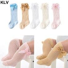 Chaussettes de printemps et dété pour filles   Adorables chaussettes à nœuds et en coton, chaussettes de printemps et dété, à mailles, chaussettes hautes, pour bébés de 0-2 ans