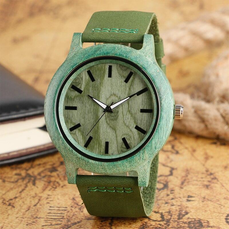 Recién llegado, relojes de madera de lujo, correa de cuero genuino de bambú verde, reloj de pulsera de regalo de cuarzo para hombres y mujeres