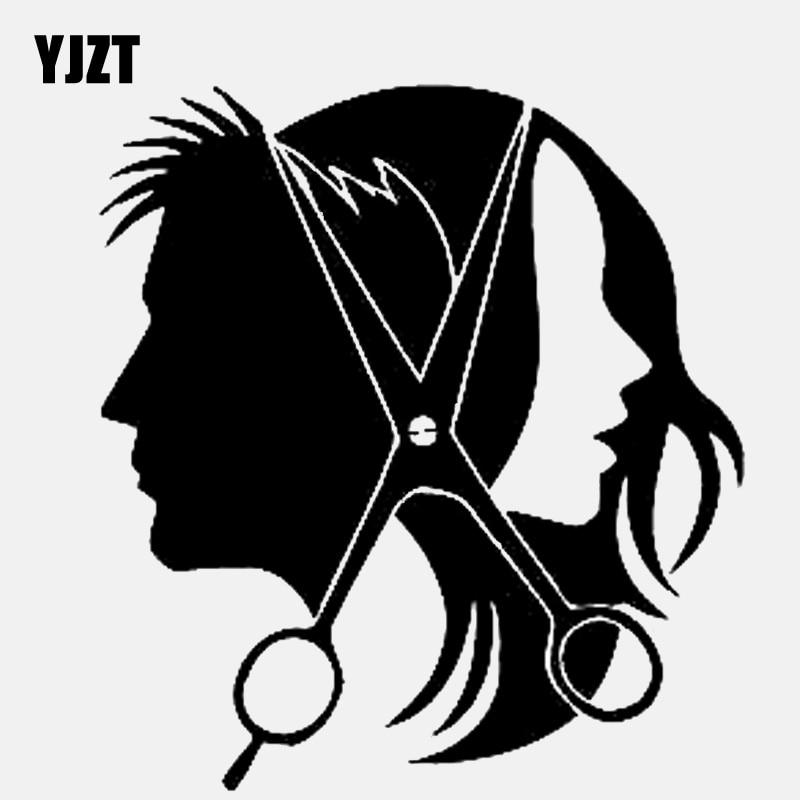 YJZT 13.2CM*14.4CM  Salon Beauty Hair Scissors Hairstyle Vinyl Black/Silver Car Sticker C22-0057