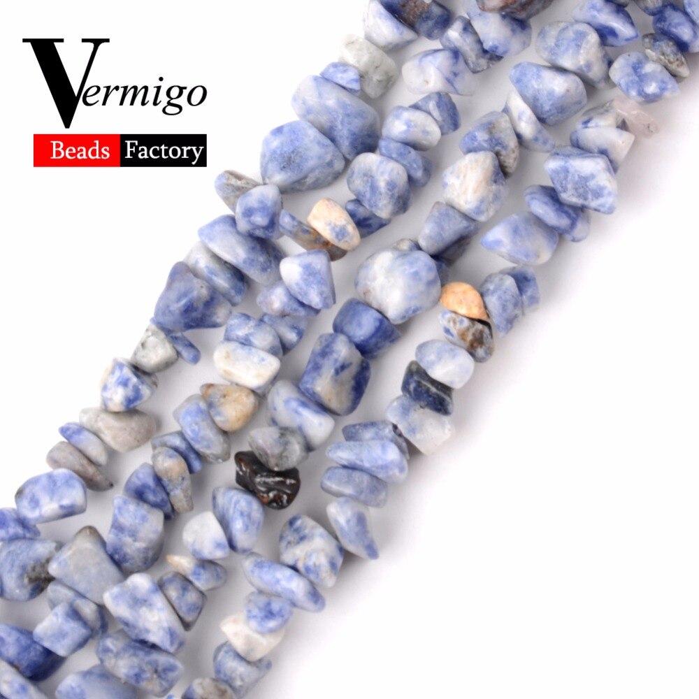 5-8-12mm Chip de Contas de Pedra Natural Irregular Mancha Azul Cascalho Contas Para Fazer Jóias 16 polegadas Diy Colar Pulseira Atacado