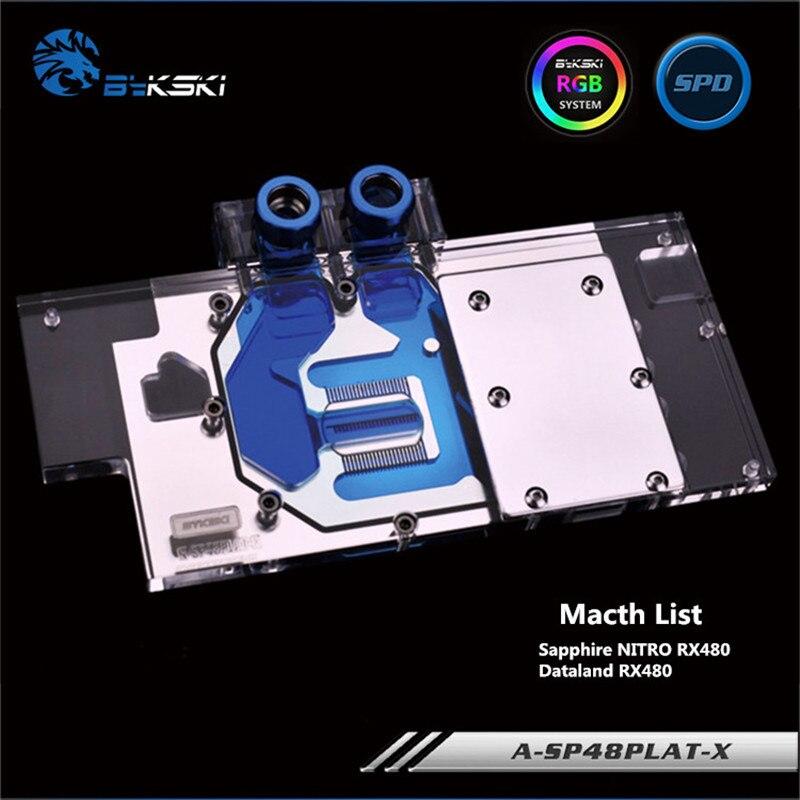 Bykski pełne pokrycie GPU blok wodny dla Sapphire NITRO RX480/Dataland RX480 karta graficzna A-SP48PLAT-X