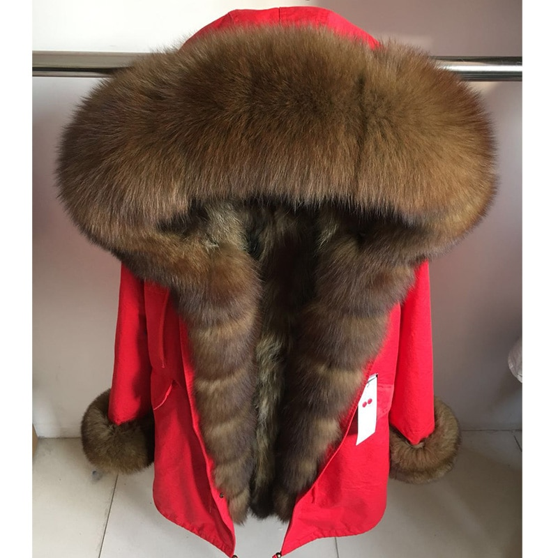 Winter Reale Natürliche Pelzmantel Frauen Rosa Fuchs Pelz Kragen Mantel Waschbären Pelz Futter Damen Tops Schwarz Parka Lange Jacke parkas