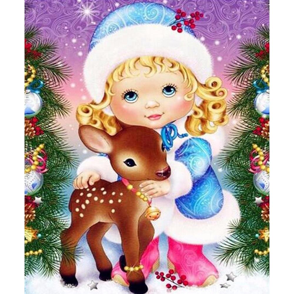 Cuadro de diamantes cuadrado completo/mosaico redondo de Navidad para niñas y ciervos, cuadro de diamantes DIY, bordado de punto de cruz, decoración del hogar