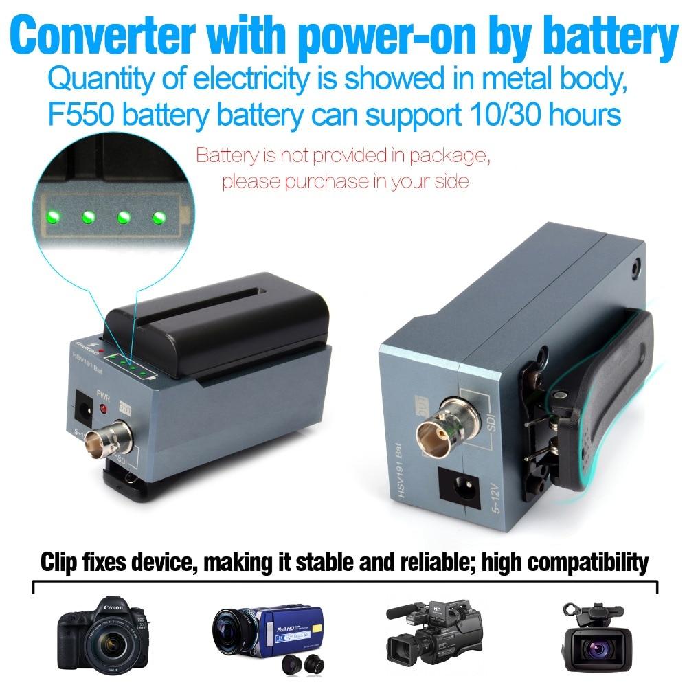 Конвертер HDMI в SDI HSV191Bat с зарядкой батареи, 1080p Mini HDMI в SD-SDI/HD-SDI/3G-SDI адаптер