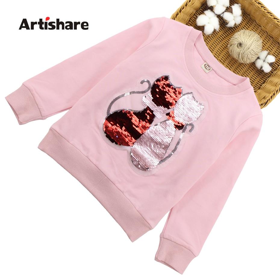 T-Shirts For Girls Sequins T Shirt Girls 2018 Autumn Kids Sequins T Shirt For Girls Teenage Children Shirts 6 8 11 10 12 14 Year