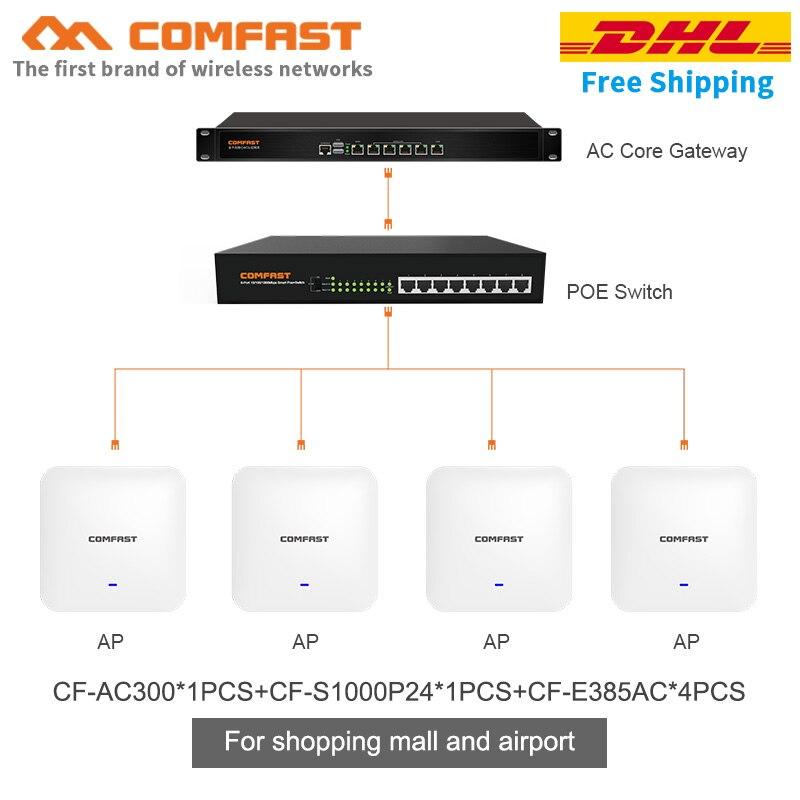 Conjunto de cobertura wi-fi para o aeroporto 24 portas 10/100/1000 mbps poe switch + poe gigabit núcleo gateway 4 pçs 2200 mbps teto ap roteador wi-fi