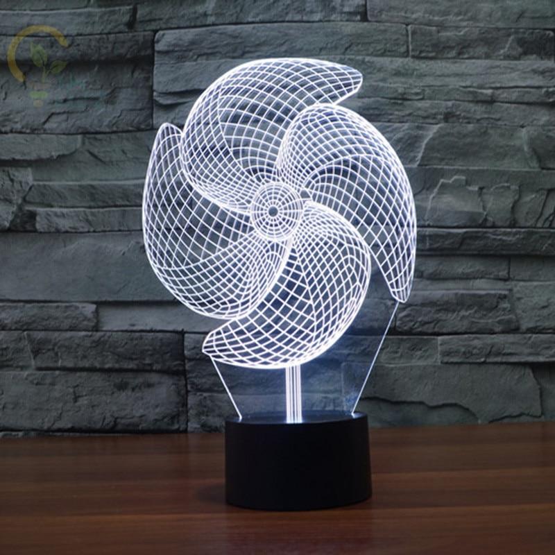 الحديثة الإبداعية 3D الوهم مصباح مروحة كهربائية ليلة ضوء بناء ضوء الاكريليك الملونة جو مصباح الجدة المنزل الإضاءة