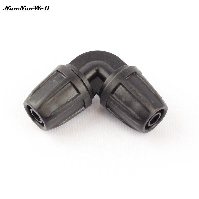 6 piezas NuoNuoWell/8/11mm manguera de jardín igual codo cerradura hilo 90 grados manguera conector rápido planta Micro sistema de riego accesorios