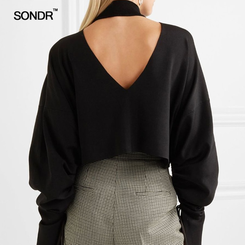 SONDR 2019 new early spring/fall/winter pullover V neck high collar front back loose drawstring long sleeve thickened sweater enlarge