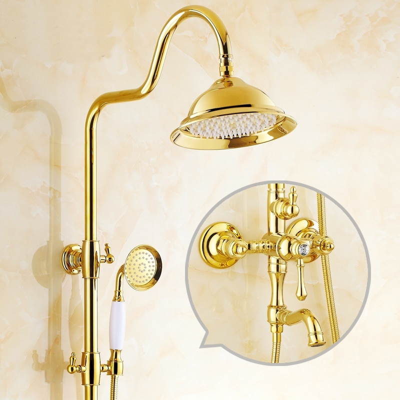 Gold Plated diamond shower faucet set wall mounted Antique rain shower faucet mixer tap Bathroom shower faucet+doule shower head
