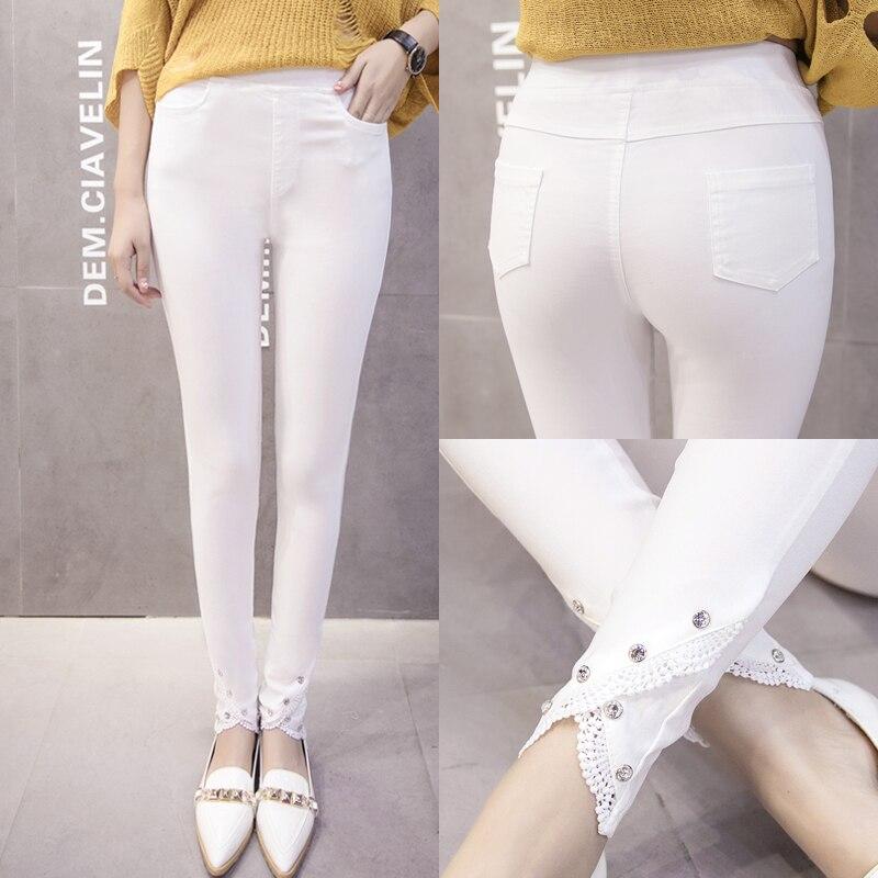 Pantalones de talla grande 4xl mujer primavera otoño 2018 bermuda femenina moda negro fino blanco nuevo panty pantalones largos Mujer A1460