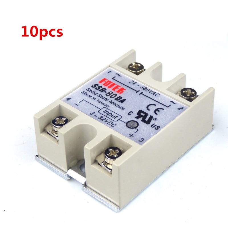 10 قطعة 24-380 فولت التيار المتناوب إلى 3-32 فولت تيار مستمر 80A/250 فولت SSR-80DA الحالة الصلبة وحدة التتابع