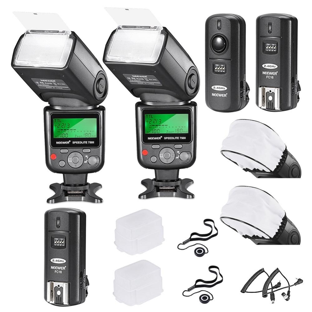 Neewer 750II i-ttl Flash Kit de Speedlite para cámara Nikon DSLR, incluye 2 Neewer 750II Flash + 2,4G disparador inalámbrico + N1/N3 Cables