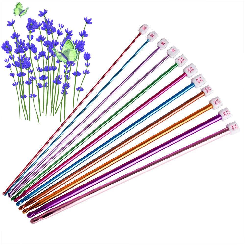 11 Pcs/ Set Crochet Hooks Needle Set Assorted Colors Tunisian Afghan Aluminum Knitting Needles Tools Kit  XH8Z