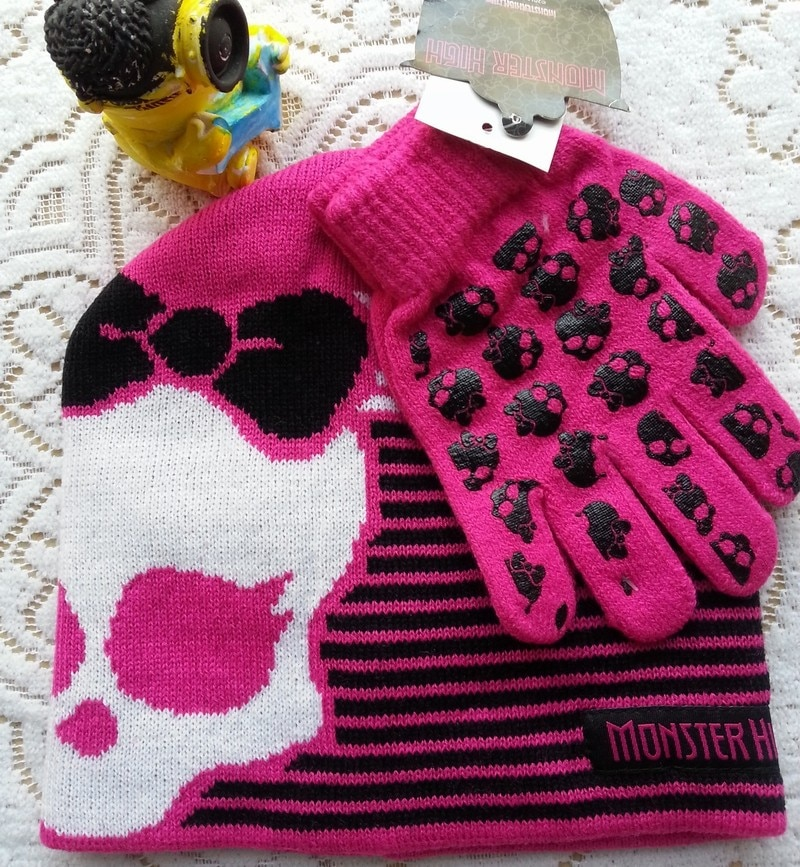 1 set Girls cartoon monster pattern hats gloves suits New Spring / Winter kids Knitted Warm Cotton Beanie Hat for girl child Cap