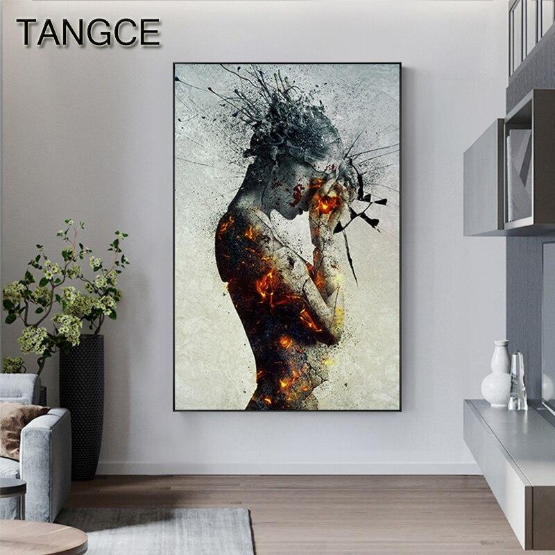 Pintura abstracta sobre lienzo con diseño de llamas para chicas, póster nórdico, Impresión de pared grande, arte para sala de estar, Cuadros góticos, Cuadros, salón