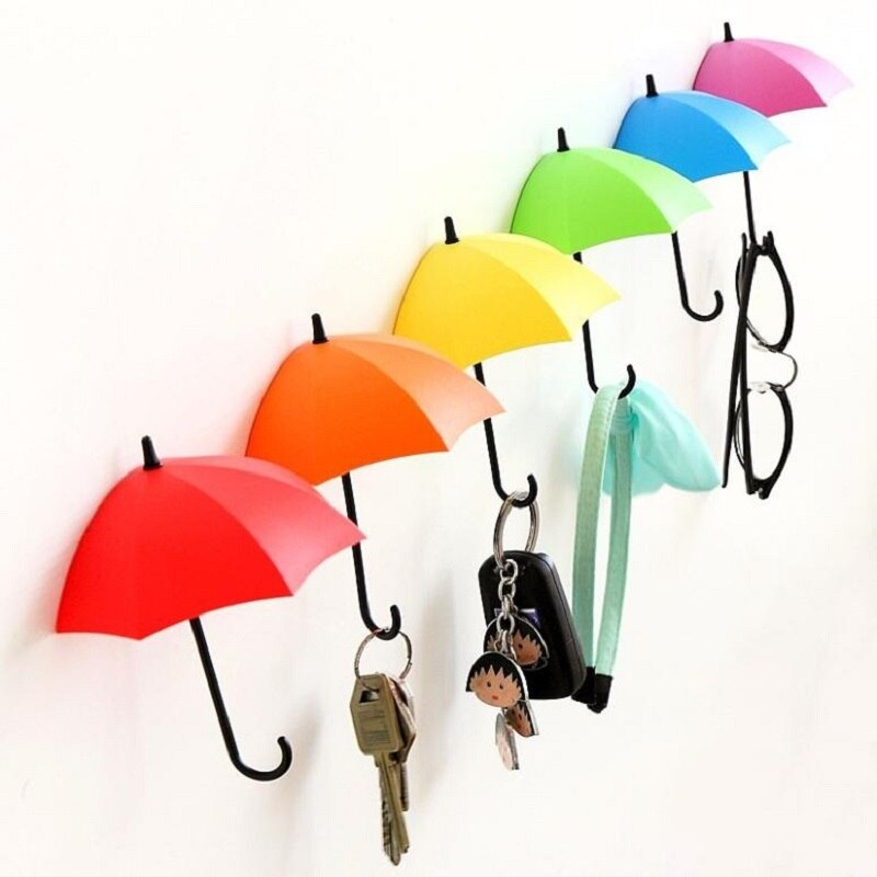 3 piezas/lote gancho de puerta de montaje en pared soporte de llave estante colorido forma de paraguas encantadores colgadores de pared de baño organizador decorativo de cocina