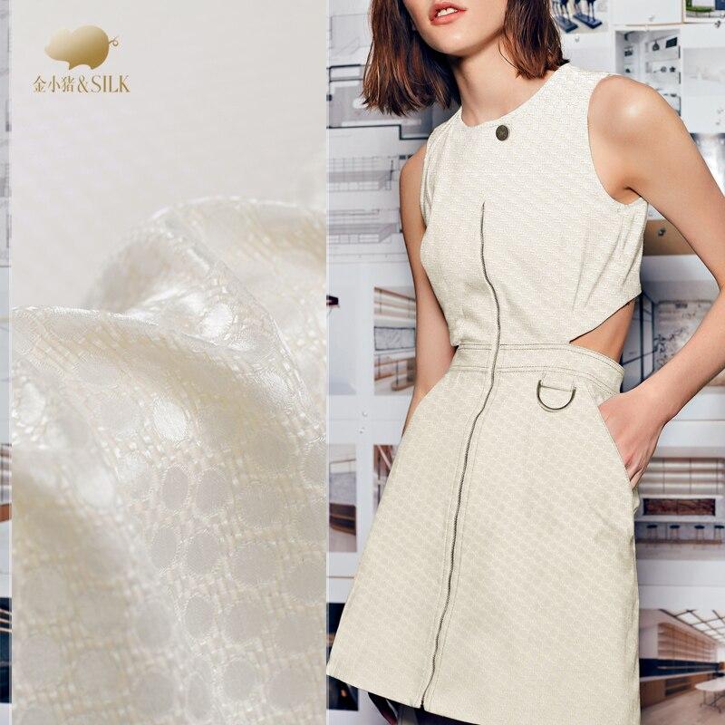 Polka dot heavy tecer textura 40 mms micro-esqueleto pano de seda tecido de seda de seda de moda vestido de camisa