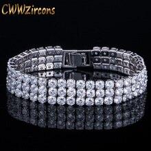 CWWZircons 3 filas redondas brillantes Zirconia cúbica piedra color plata de Lujo Grandes pulseras nupciales anchas para mujer joyería de boda CB064
