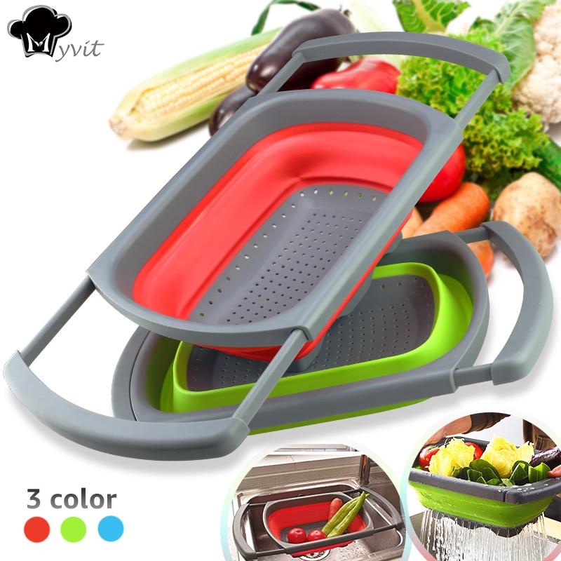 Sieb Ablassen Waschen Klapp Korb Küche Sieb Faltbare Obst Gemüse Küche Werkzeuge mit Versenkbare Griffe